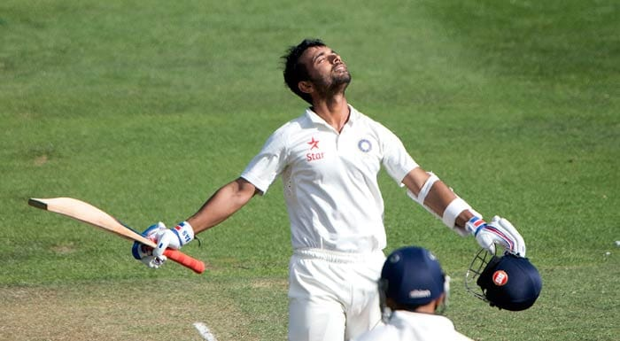 Ajinkya Rahane scored his maiden century as India took full control of the second Test against New Zealand on Saturday at Basin Reserve, Wellington after Day 2. (Image courtesy: AFP and AP)