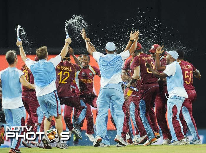The entire West Indies contingent rushes out to party!