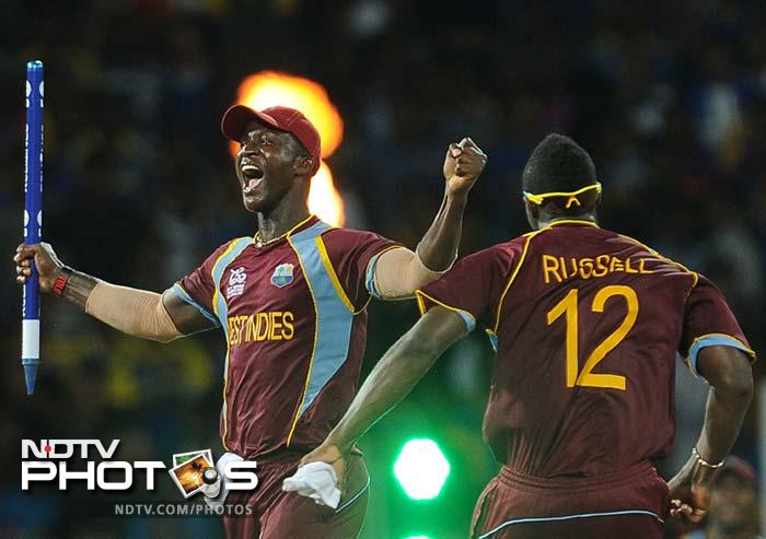 Sammy after the final Sri Lankan wicket fell. He later dedicated the win to West Indies' fans.