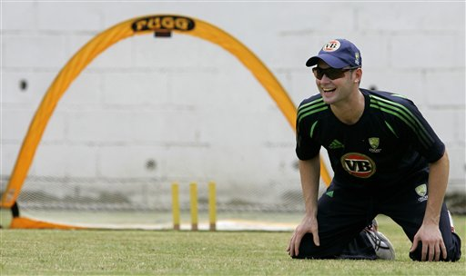 Australia's vice captain Michael Clarke smiles while participating in a catching drill during a training session at the Antigua Recreation Ground in St. John's on Wednesday, May 28, 2008. The second cricket Test match between West Indies and Australia begins on Friday.
