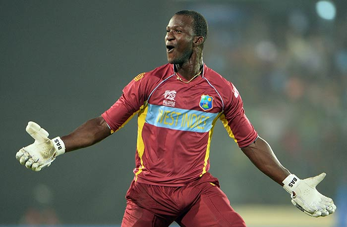 With 12 runs to get in the final over, skipper Darren Sammy planted two huge consecutive sixes off James Faulkner to register his side's second win of the tournament.