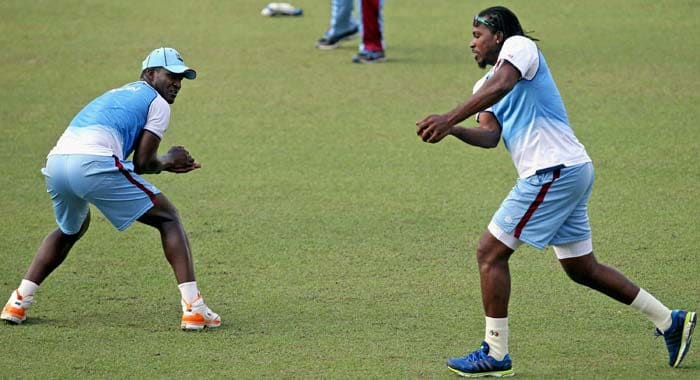West Indian fielders are seen doing slip catching practice. The Windies boast of fiery pacers like Kemar Roach and Tino Best who will be itching to trouble the Indian batsman with their pace, thus keeping the slip fielders interested at all times.
