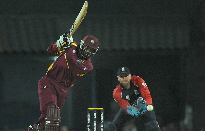 Chris Gayle got the West Indies off to a blazing start, hitting 43 off just 21 balls before falling to Tredwell. (AFP Photo)