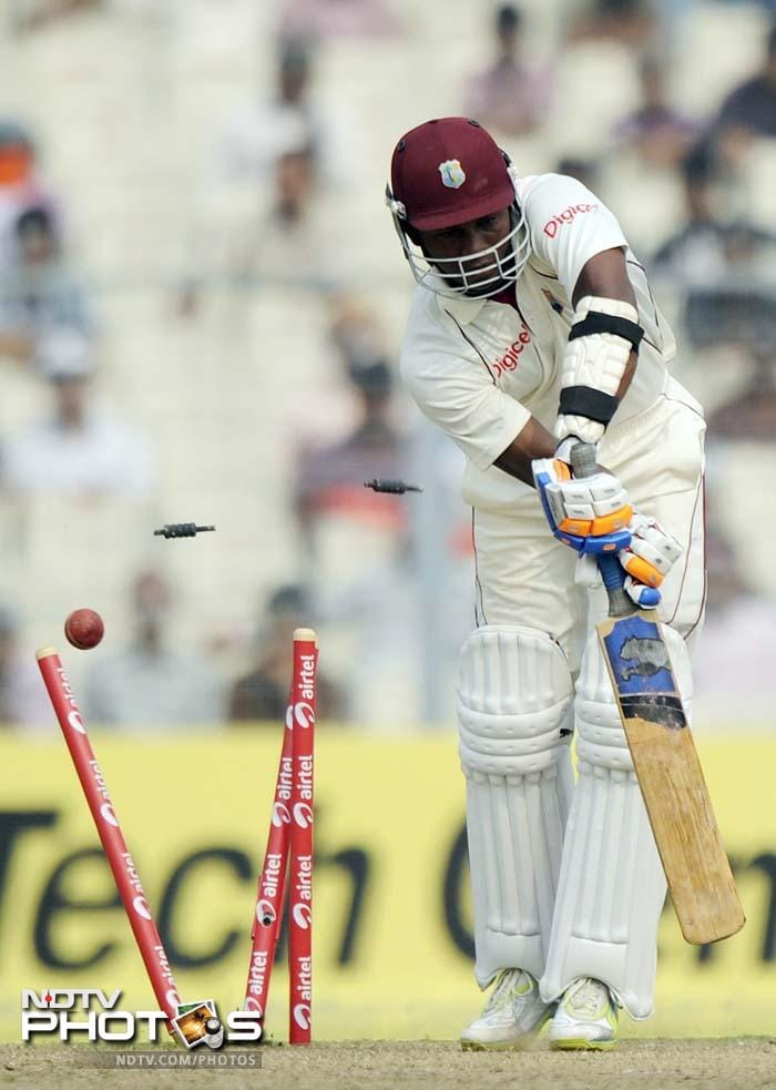 Umesh Yadav proved his mettle with 3 first innings wickets that included castling Darren Bravo.