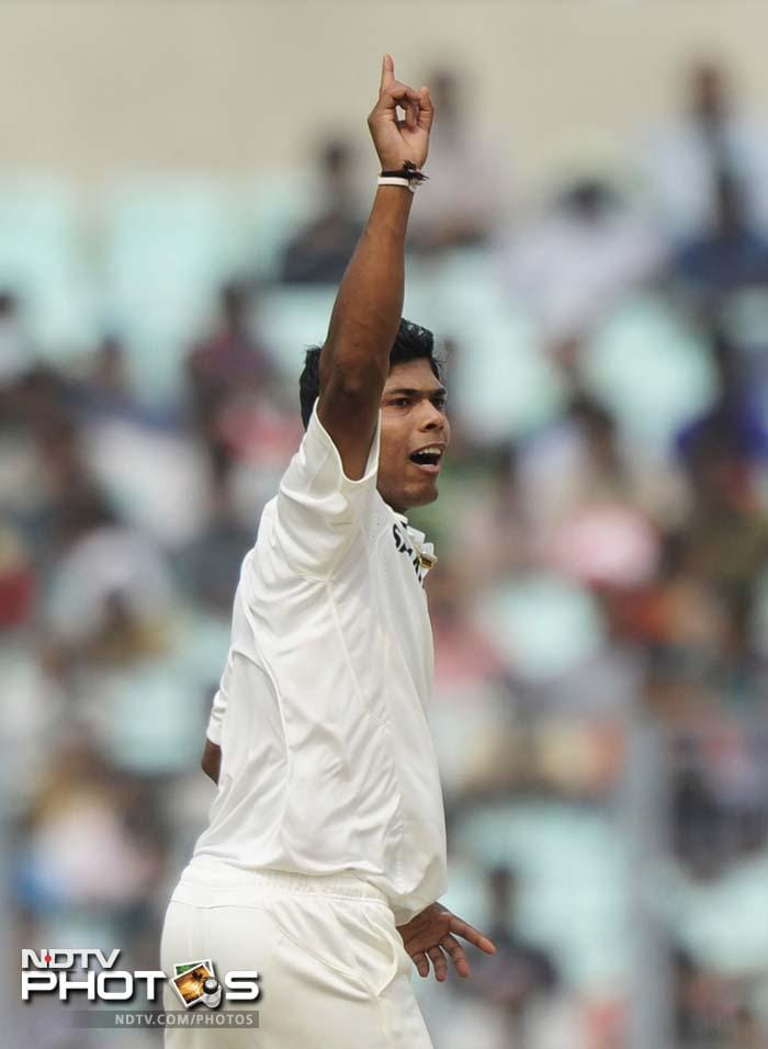 Umesh Yadav also got rid of Marlon Samuels and opener Adrian Barath, who edged the ball to Virender Sehwag at second slip.
