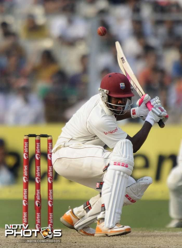 West Indies would be disappointed to lose Kirk Edwards in the last session of the day but Darren Bravo fought it out to remain unbeaten on 38 off 84 balls.