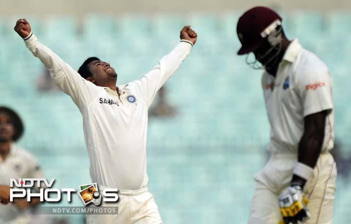 Kirk Edwards, Pragyan Ojha's first wicket of the match, also became his 50th Test scalp.