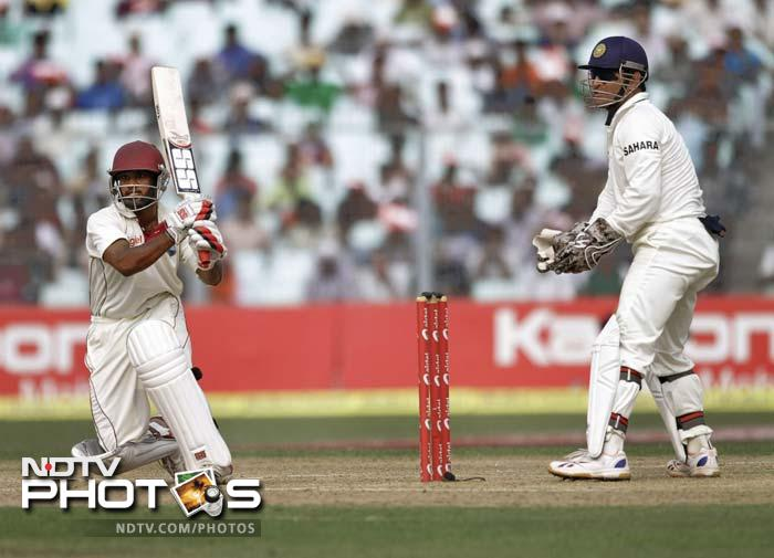 Adrian Barath (62) put on 93 runs for the 2nd wicket with Kirk Edwards (60), before both batsmen were sent back by Ishant Sharma, to ensure there was no collapse in the second innings.