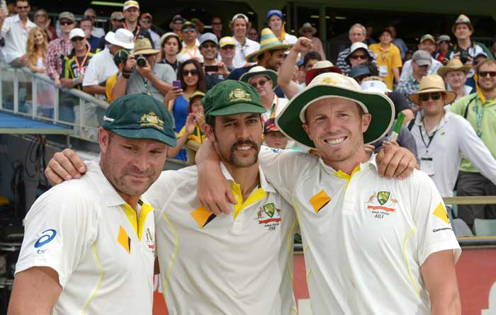 The pace trio Ryan Harris, Mitchell Johnson and Peter Siddle were much more composed than Warner. On the field they caused widespread carnage among English ranks though.
