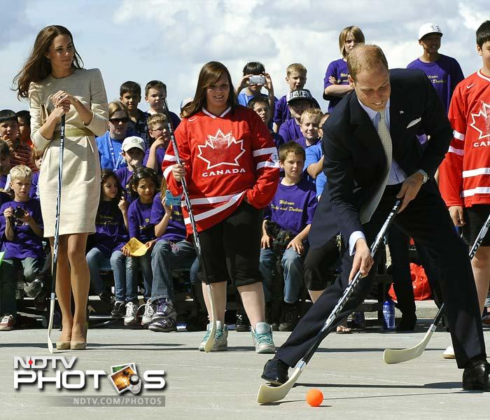 Prince William decided to take three shots at the goal with no players and just a goal-keeper to stop his heaves.