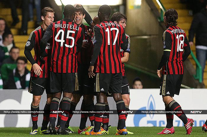 Kaka and Mario Balotelli kept AC Milan's Champions League dream alive with a 3- win over Celtic. (AFP image)