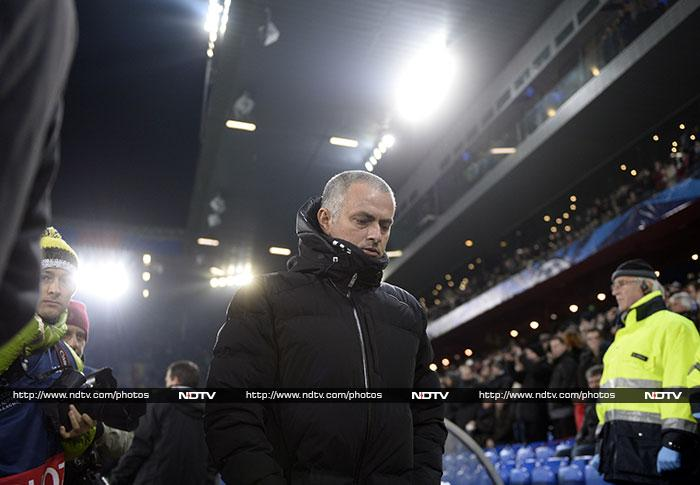 "Despite a 1-0 defeat to Basel, Chelsea progressed to the knockout stages. Manager Jose Mourinho wasn't too pleased however. ""The only positive thing is that we go through. But I do not want to take any credit from the opponent as they were better than us."" (AFP image)"