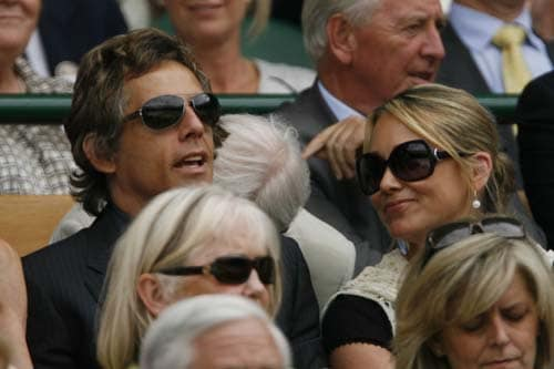 US' actor Ben Stiller and wife Christine attend the women's final tennis match between US' Serena Williams and US' Venus Williams on Day 12 at the 2009 Wimbledon at the All England Club. (AFP Photo)