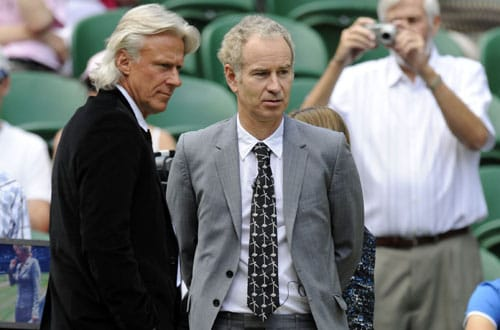 Former tennis internationals Bjorn Borg and US' John McEnroe ahead of the men's final tennis match between Switzerland's Roger Federer and US' Andy Roddick on the Centre Court at Wimbledon. (AFP Photo)