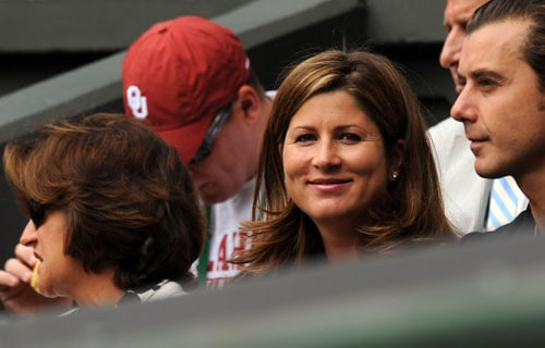 Mirka Vavrinec, partner of Switzerland's Roger Federer, watches as he plays against US' Andy Roddick in the men's singles final match on the Centre Court at Wimbledon. (AFP Photo)
