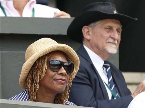 Oracene Williams, mother of Venus Williams on centre court prior to a third round singles match between Venus Williams of US and Carla Suarez Navarro of Spain on the sixth day of the 2009 Wimbledon. (AP Photo)