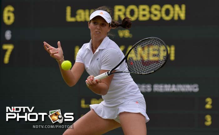 Home fans were not screaming loudly though.<br><br>Britain's dreams of a first woman in the Wimbledon quarter-finals for 29 years were shattered when Laura Robson (in pic) bowed out in tears after falling to Estonia's Kaia Kanepi.