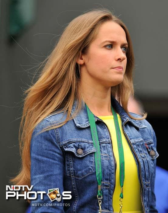 Kim Sears - girlfriend of Andy Murray - is seen here during one of his matches.