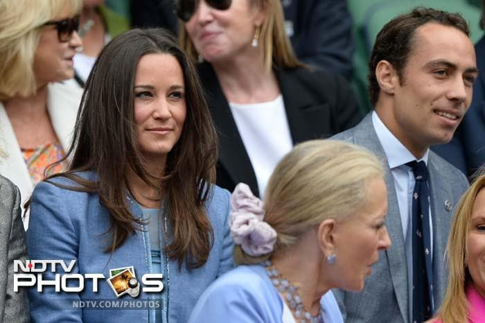 Pippa and James Middleton, sister and brother of Catherine Middleton, Duchess of Cambridge, were present to watch Roger Federer play Romania's Victor Hanescu in the first round.
