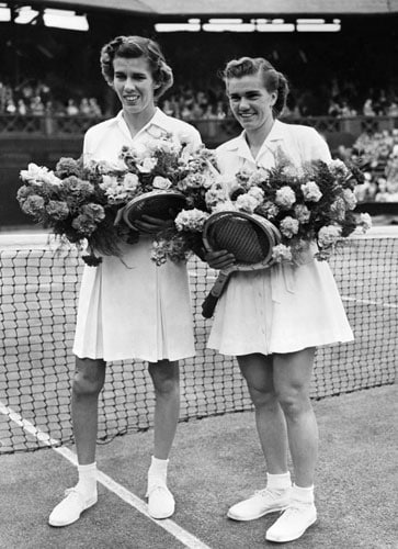 By 1950, the whites shrunk further as seen in the image of USA's Doris Hart and Shirley Fry. (AFP Photo)
