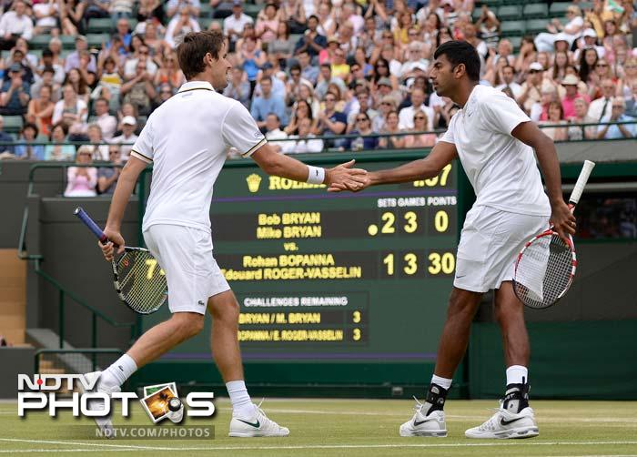 Rohan Bopanna and Edouard Roger-Vasselin lost to Bob and Mike Bryan in semi-finals that lasted five sets.