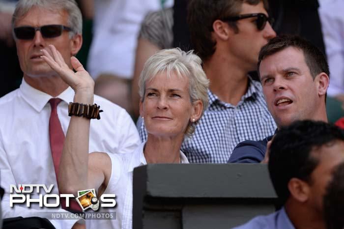 Judy Murray, mother of Andy, waves from the crowd ahead of men's final