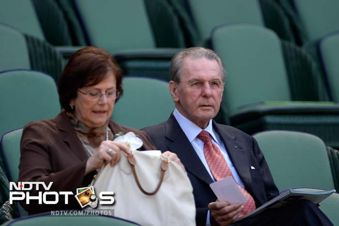 IOC President Jacques Rogge and his wife Anne in the royal box to watch the men's final.
