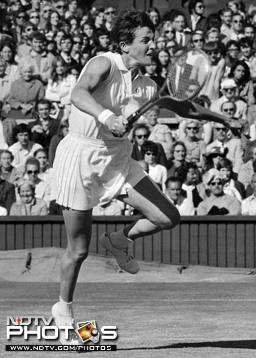 Australia's Margaret Court-Smith is seen sporting a mini skirt in the photograph of 1960 Wimbledon Championship. (AFP Photo)