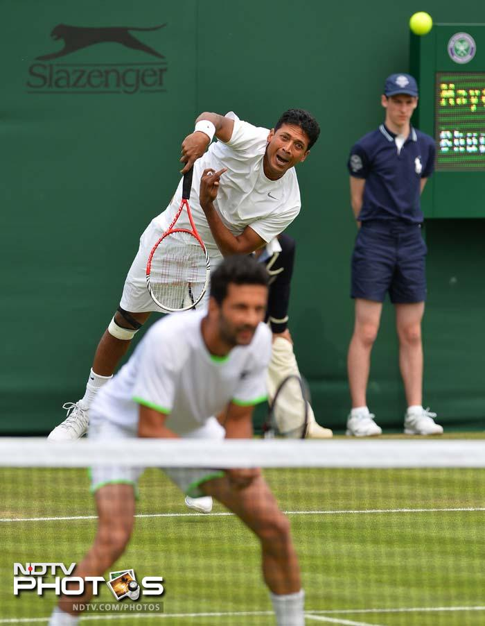 Eighth seeded Indo-Austrian pair of Mahesh Bhupathi and Julian Knowle advanced to the second round beating unseeded Argentine-Spanish duo Leonardo Mayer and Albert Ramos 6-2, 6-7(5), 6-4, 6-2.