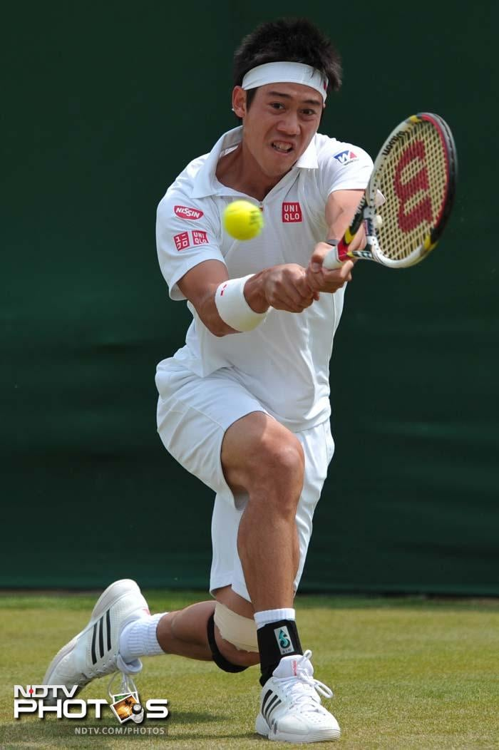 Kei Nishikori equalled his best performance at Wimbledon as the Japanese 12th seed reached the third round with a 7-6 (7/5), 6-4, 6-2 victory over Argentina's Leonardo Mayer.