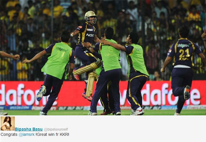 """Bipasha Basu tweeted """"Congrats @iamsrk !Great win fr KKR!"""""""
