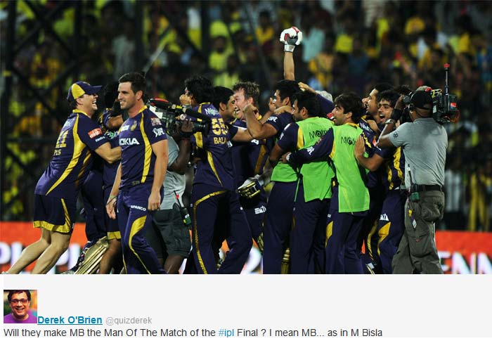 """Derek O'Brien said on twitter, """"Will they make MB the Man Of The Match of the #ipl Final ? I mean MB... as in M Bisla"""""""