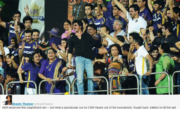 """Shashi Tharoor was all praise for KKR """"KKR deserved this magnificent win -- but what a spectacular run by CSK! Nearly out of the tournament, fought back, battled on till the last"""""""