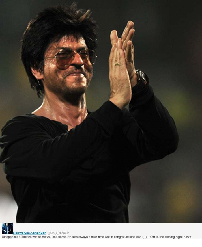 """Rajnikanth's daughter Aishwaryaa tweeted """"Disappointed..but we win some we lose some..!theres always a next time Csk n congratulations Kkr :( :) .. Off to the closing night now !"""""""
