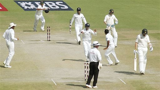 Michael Clarke kept one end intact but Amit Mishra dismissed him as the last man and celebrations broke right in the middle.