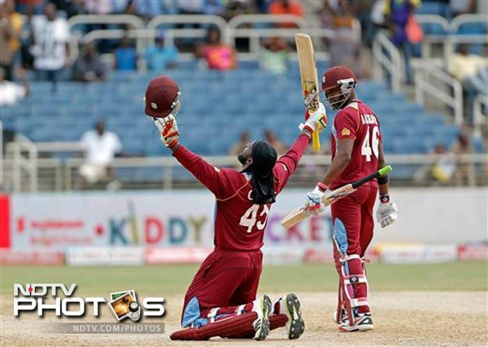 Chris Gayle notched his first ODI hundred against Sri Lanka as he led West Indies to a crushing six-wicket victory with more than 12 overs to spare. This was his 21st century.