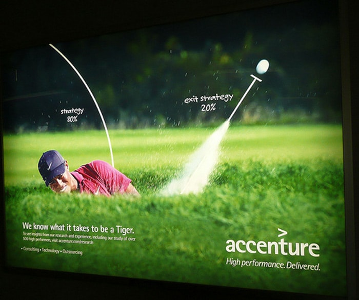"The first to drop him was Accenture, a Dublin-based technology and management company.<br><br> Accenture, who's ad campaigns once included slogans like ""Go on. Be a Tiger,"" or ""We know what it takes to be a Tiger"", said Woods was ""no longer the right representative for its advertising""."