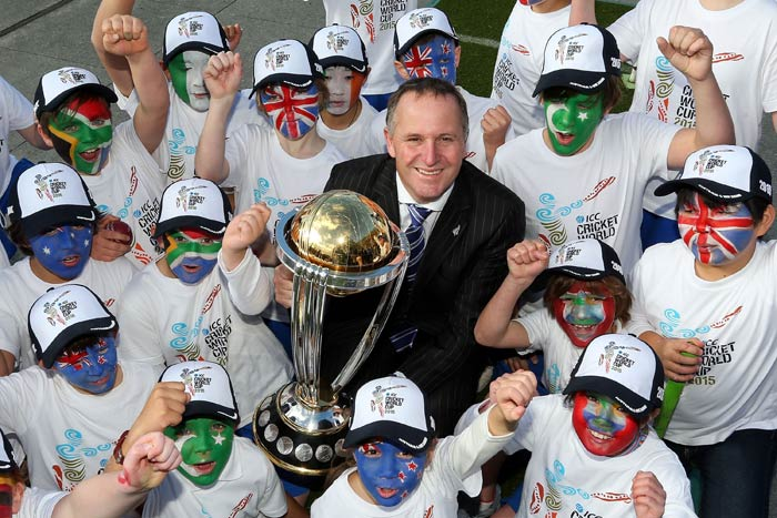 """Not just former cricketers but even New Zealand PM John Key was present at the event and said how cricket is passionately followed in his cricket. """"We will be gracious hosts."""" (ICC/Getty Images)"""