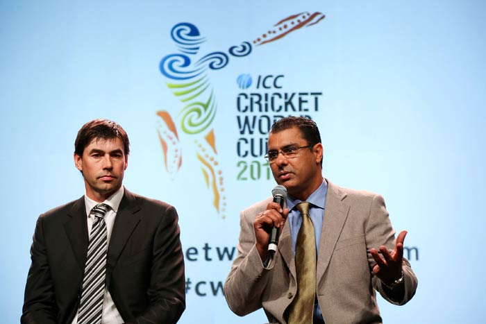 In Wellington, Stephan Fleming and former Pakistan pacer Waqar Younis explained their experiences of playing World Cup cricket. (ICC/Getty Images)