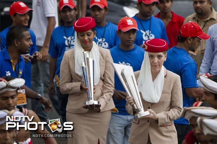 The trophy arrived in Sri Lanka late August and will have each team with their sights firmly on it. There are 12 participating teams. (AP image)