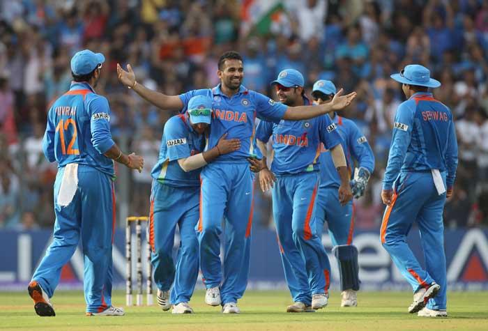 Zaheer Khan celebrates taking the wicket of Chamara Kapugedera of Sri Lanka. (Getty Images)