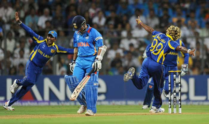 Lasith Malinga proved lethal yet again as he picked up Sachin Tendulkar caught by Sangakkara. (AFP Photo)