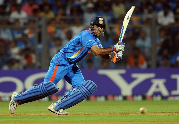 Indian skipper Mahendra Singh Dhoni promoted himself up the order to add stability to the innings. (AFP Photo)