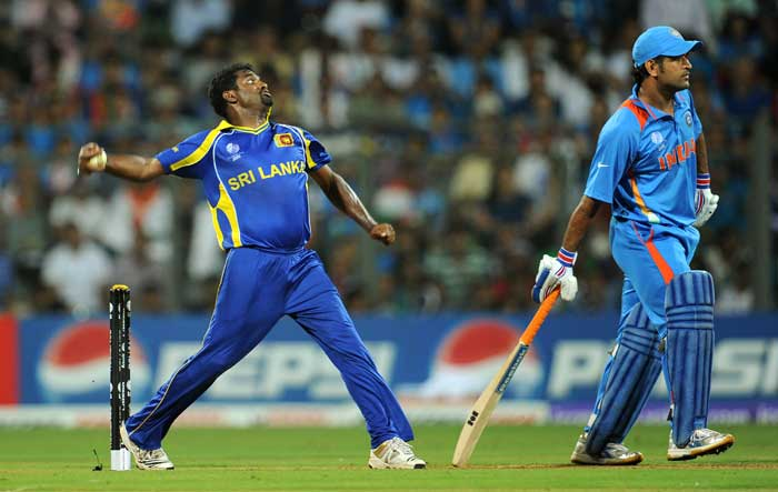 Muttiah Muralitharan was kept wicketless thus far by the Indians in his last international game. (AFP Photo)