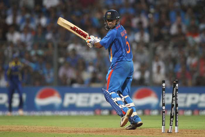 Gautam Gambhir missed his maiden World Cup ton by three runs, to bring Yuvraj Singh to the crease. (AFP Photo)