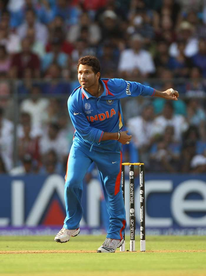 Sachin Tendulkar once again rolled his arm over, giving the already vocal Wankhede crowd more reason to cheer about. (Getty Images)