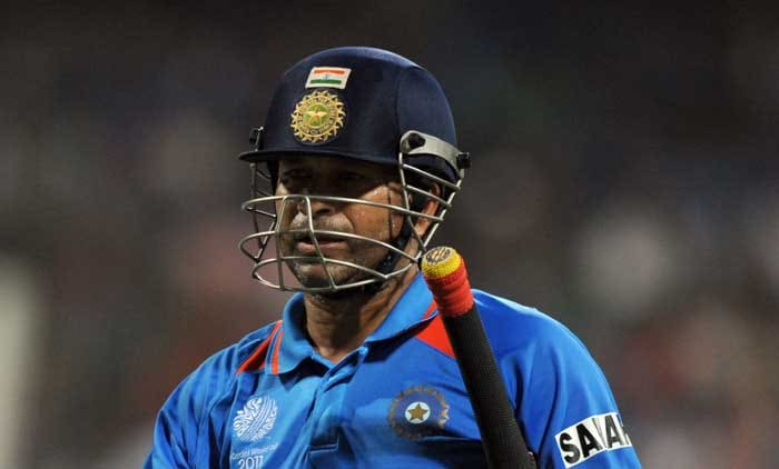Sachin may well have faced his last World Cup delivery as he headed back to the pavillion for 18 runs. (AFP Photo)