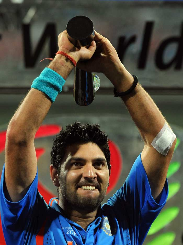 <b>Good Times are Back: </b>Yuvraj Singh is named Man of the Tournament. (AFP Photo)