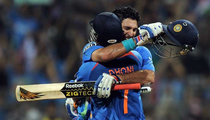<b>The First Celebration: </b>Time and again during the World Cup 2011, MS Dhoni and Yuvraj Singh found themselves in the middle with the situation demanding a partnership to both steady innings and fetch runs. It was fitting that they were at the crease when India became World Champions all over again.