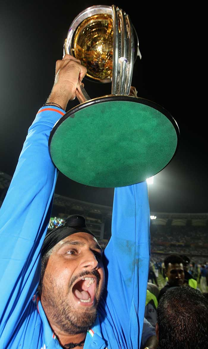 <b>On Top of the World: </b>Harbhajan Singh, India's king of spin, is an aggressive man. He wept and screamed for joy in that spirit on winning the World Cup. (Getty Images)